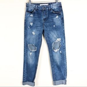 Zara High Waisted Distressed Boyfriend Jeans